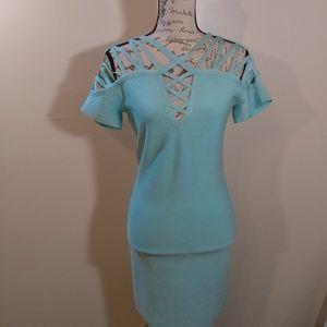 bebe womens ponte strappy shoulders sheath dress
